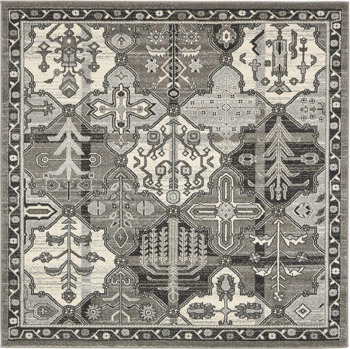 Unique Loom La Jolla Collection Tone-on-Tone Traditional Gray Square Rug 6 0 x 6 0