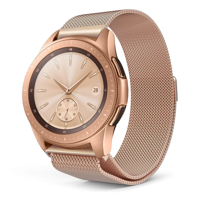 Minfex サムスン Galaxy Watch 46mmバンドと互換性 20mm ミラネーゼループメッシュ ステンレススチール 交換用バンド アクセサリー リストバンド サムスンGalaxy Watch SM-R800用 B07HMR14D7 ローズゴールド Large