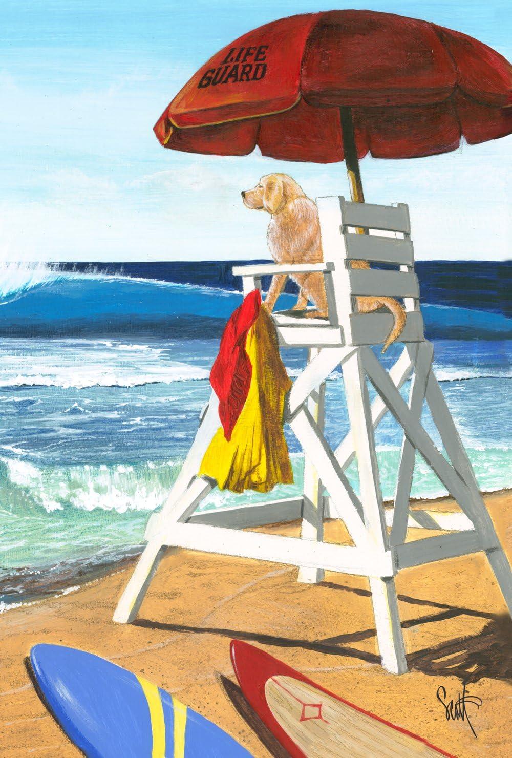 Toland Home Garden Puppy Patrol 12.5 x 18 Inch Decorative Summer Beach Dog Lifegaurd Garden Flag