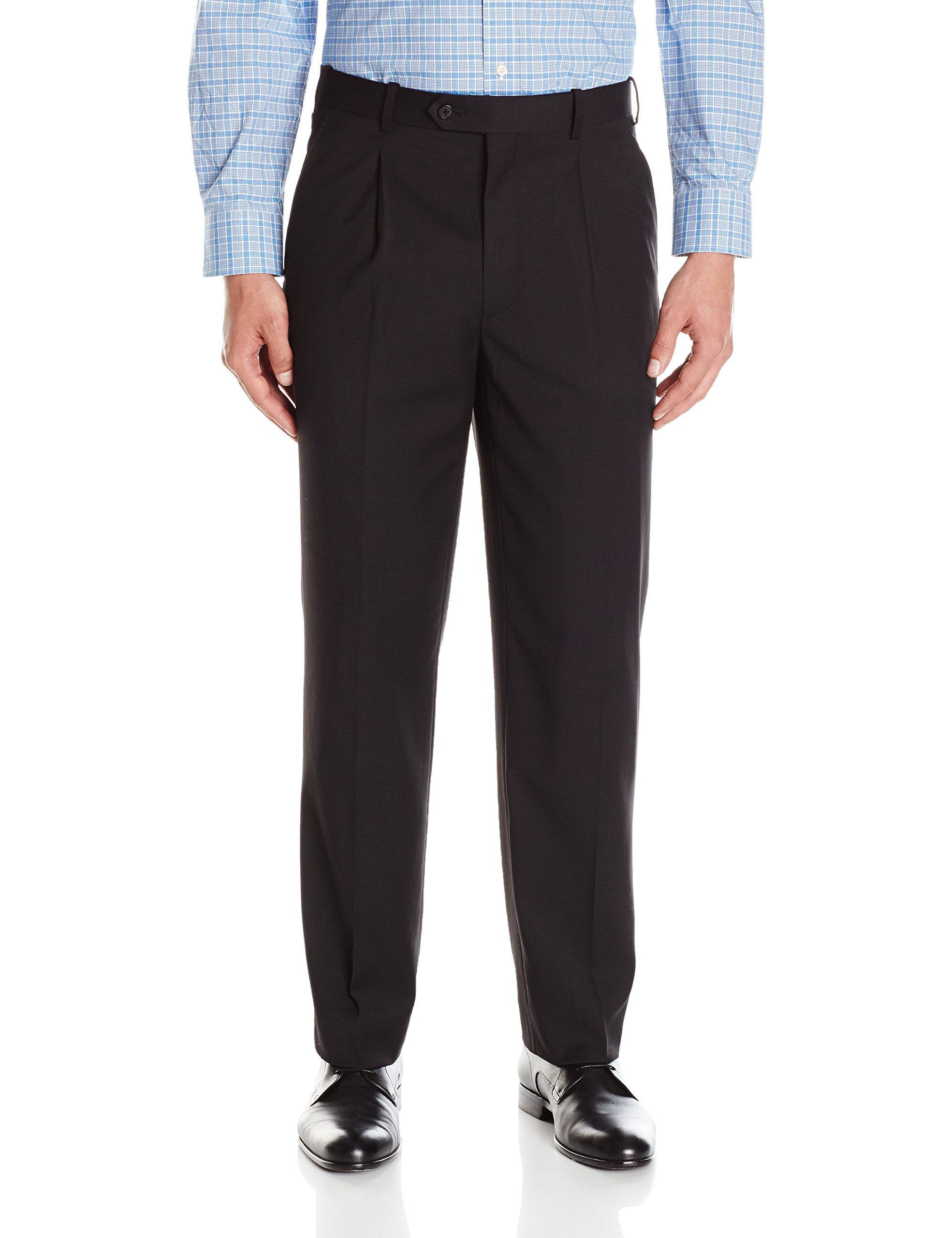 Adolfo Men's Black Single Pleat Micro Tech Suit Pant, Solid, 38W x 30L by Adolfo