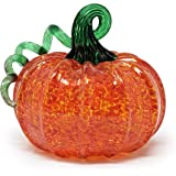 "Luke Adams Glass | 3.5"" Mini Glass Pumpkin | Handmade Table Top Home Décor | Outdoor Collectible Sculpture (Orange)"