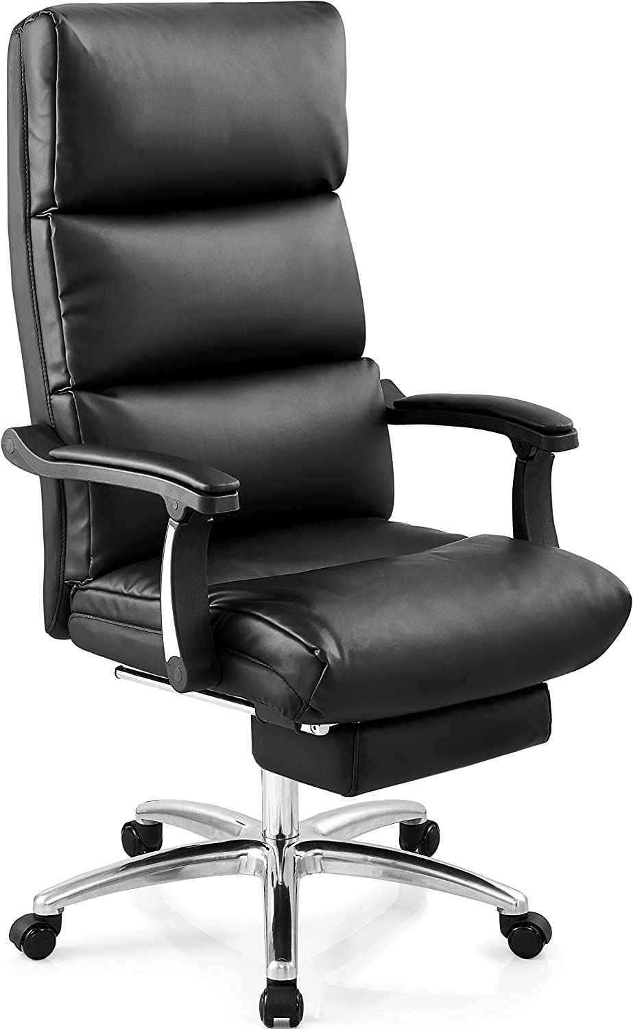 Ticova Executive Office Chair – High Back Leather Office Chair with Footrest and Thick Padding – Reclining Computer Chair with Textured Leather and Ergonomic Segmented Back, Black