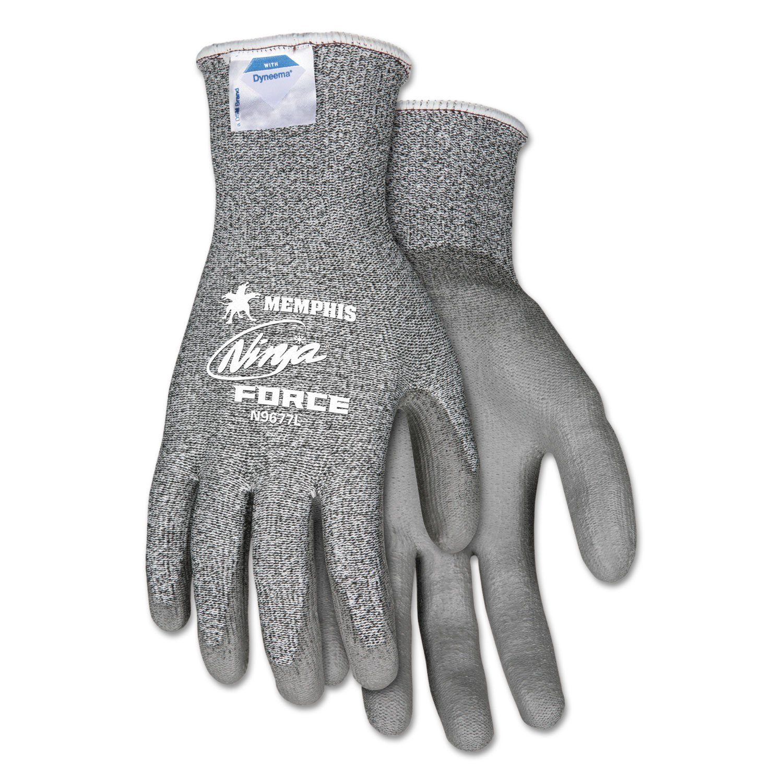 Gray Medium Memphis N9677M Ninja Force Polyurethane Coated Gloves Pair