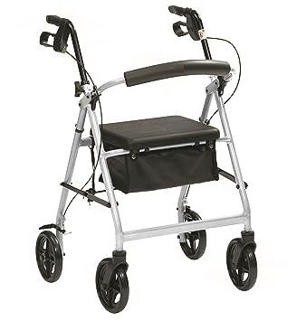 Plegado Ligera andador con ruedas con frenos, asiento y bolsa