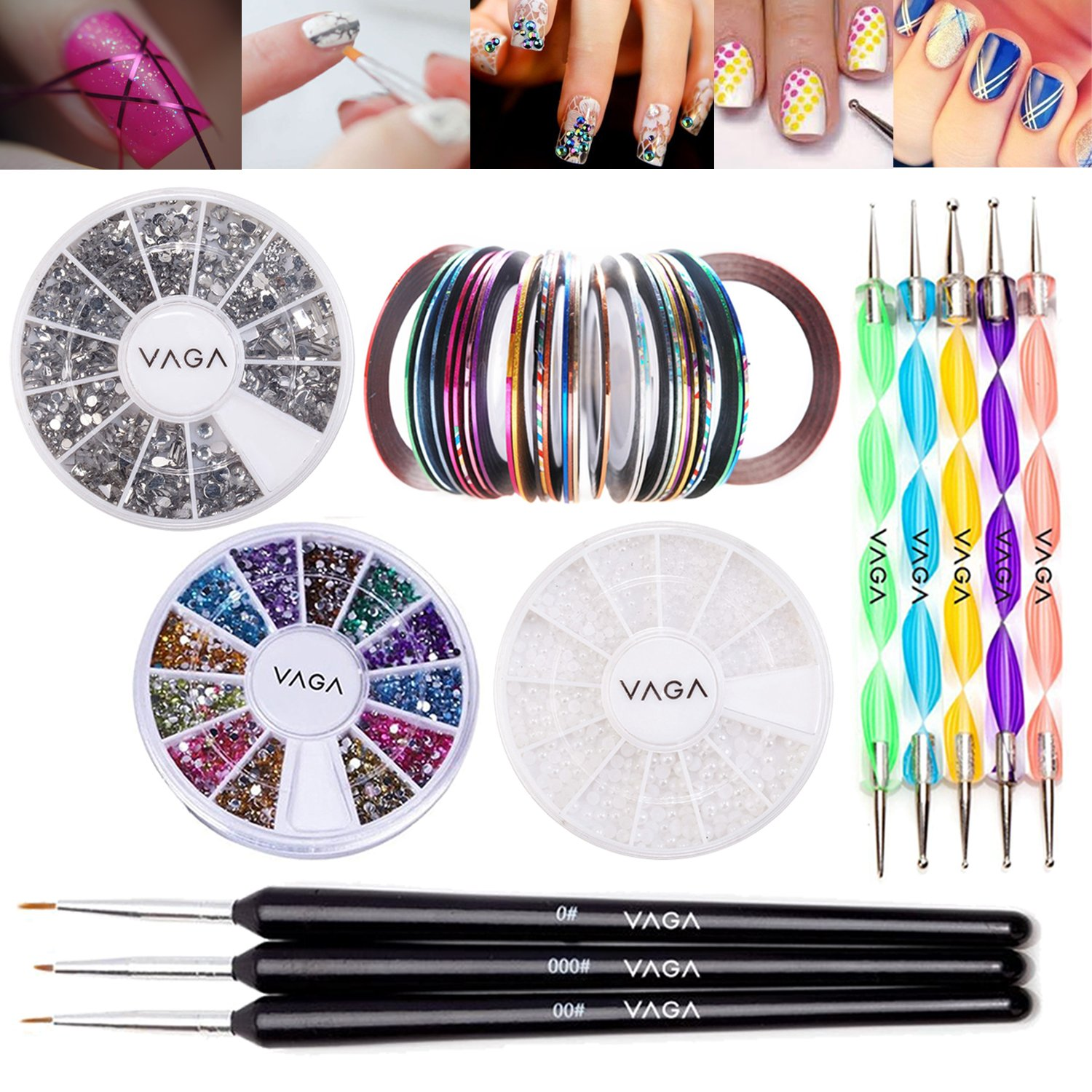 Amazon.com: Vaga Professional Nail Art Decorations Tools Kit (6 ...