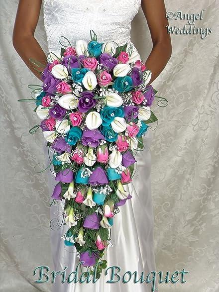 Amazon beautiful malibu fuschia purple cascade complete wedding beautiful malibu fuschia purple cascade complete wedding package bridal bridesmaid groom boutonniere corsage silk flowers mightylinksfo