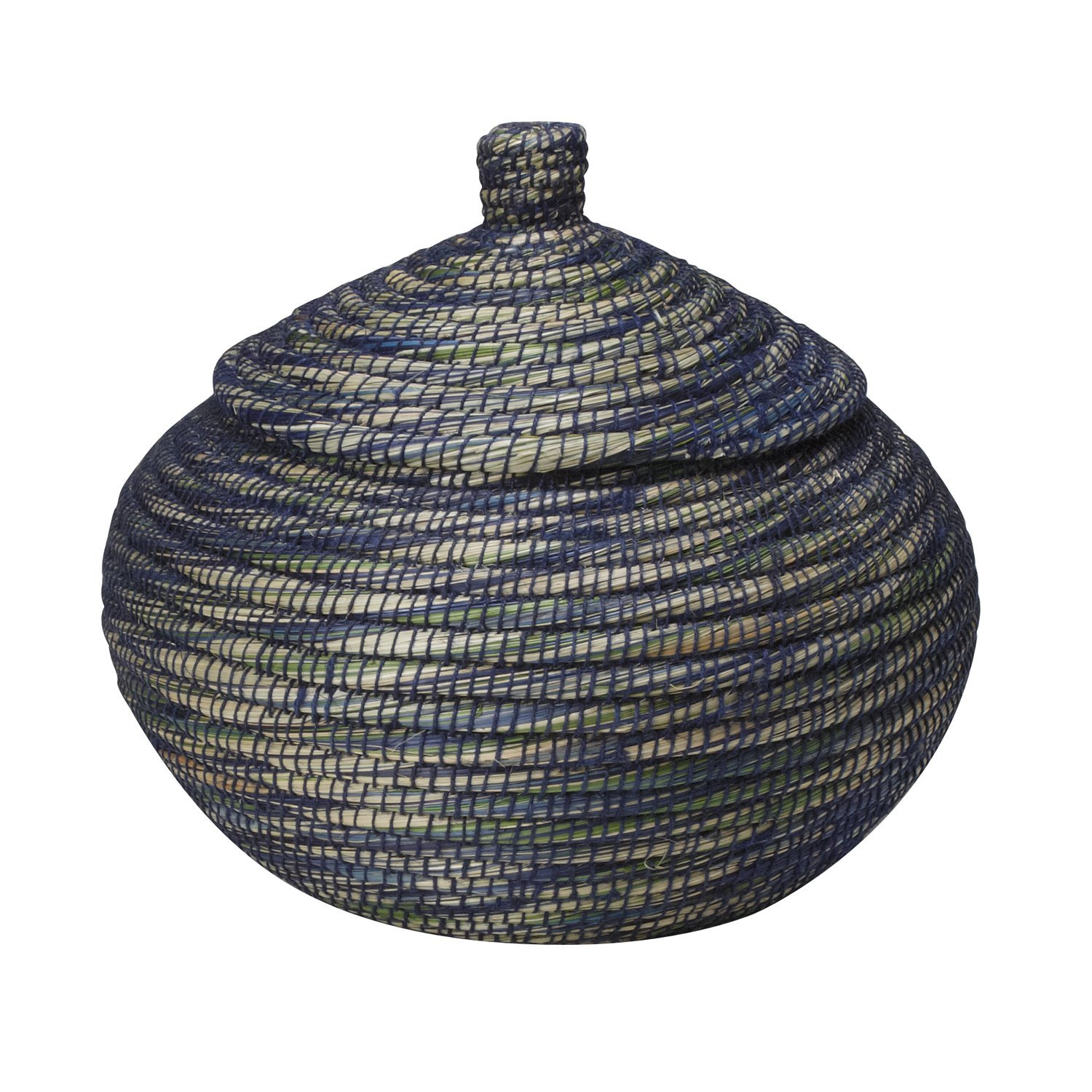 Ten Thousand Villages Large Woven Kaisa Grass Basket With Lid 'Blue Ribbon Bogra Basket'