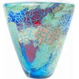 "Luxury Lane Hand Blown Blue Abstract Art Glass Vase 7"" tall"