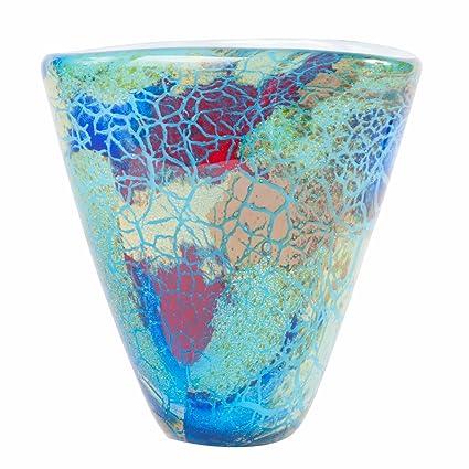 Amazon Luxury Lane Hand Blown Blue Abstract Art Glass Vase 7
