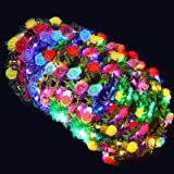 Valentines Day Gifts-50 Pack Led Flower Crowns Party Favors VaLight Up Headbands Glow in The Dark Party Supplies School Prize