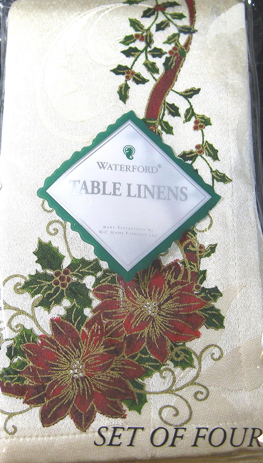 セットの4 Waterford布napkins- Golden Scrolls withポインセチアat christmas- 19