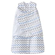 Halo 100% Cotton Muslin Sleepsack Swaddle Wearable Blanket, Blue/Grey Zig Zag, Small