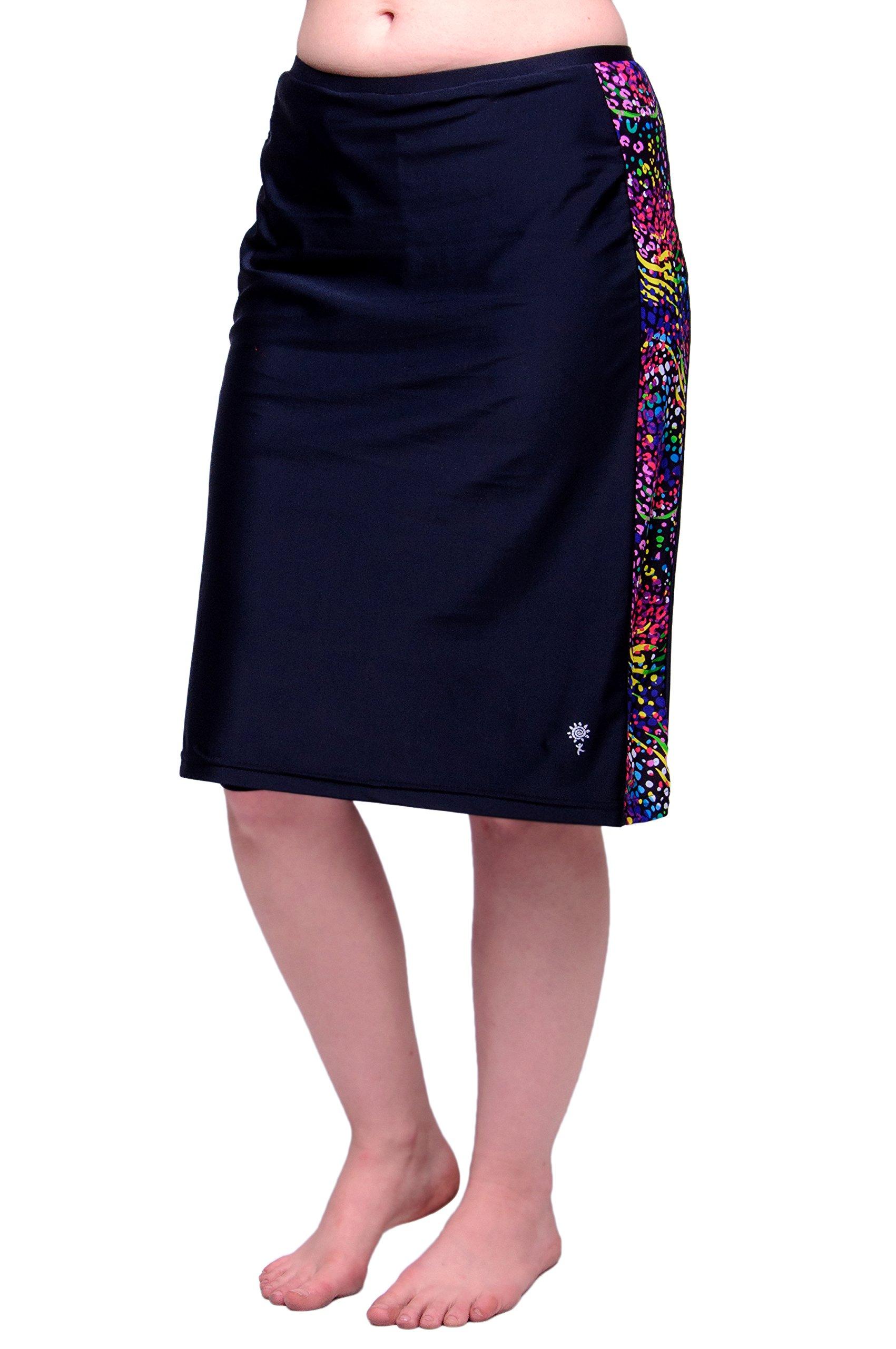 HydroChic Women's Plus Size Modest Swim Skirt With Leggings, Skirted Swim Bottoms (Black/Tiger, 2X)