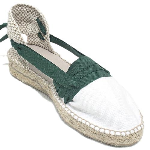 Espardenya.cat Alpargatas Hechas a Mano Tradicionales de Media Cuña Diseño Tres Vetas Color Verde Oscuro: Amazon.es: Zapatos y complementos