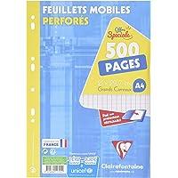 ClaireFontaine 11791C - Un é‰tui carton de 500 pages Feuillets Mobiles perforés blancs 21x29,7 cm 90g grands carreaux