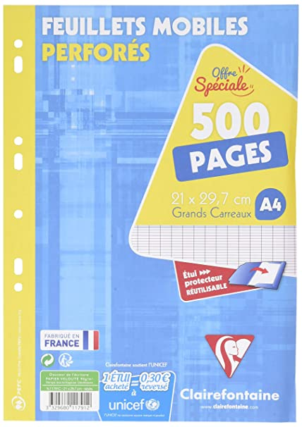 Clairefontaine 11791c - Hojas sueltas (perforadas, cuadriculado, 300 + 200 hojas, incluyendo agenda A4, modelo francés)