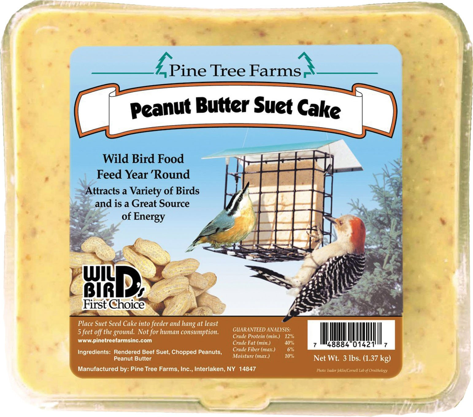 Case Pack of Pine Tree Farms Peanut Butter Suet Cakes, Brown, 3 lbs.