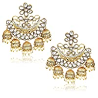 YouBella Jewellery Gold Plated Pearl Fancy Party Wear Jhumka / Jhumki Earrings for Women Traditional Earrings for Girls