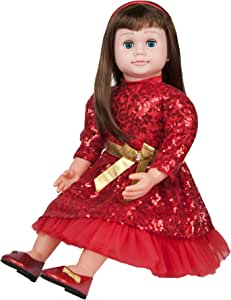 """Ask Amy 22"""" Real Looking Baby Dolls for Girls, Toddlers Kids Learning Toys Age 3, Brunette Red Dress"""