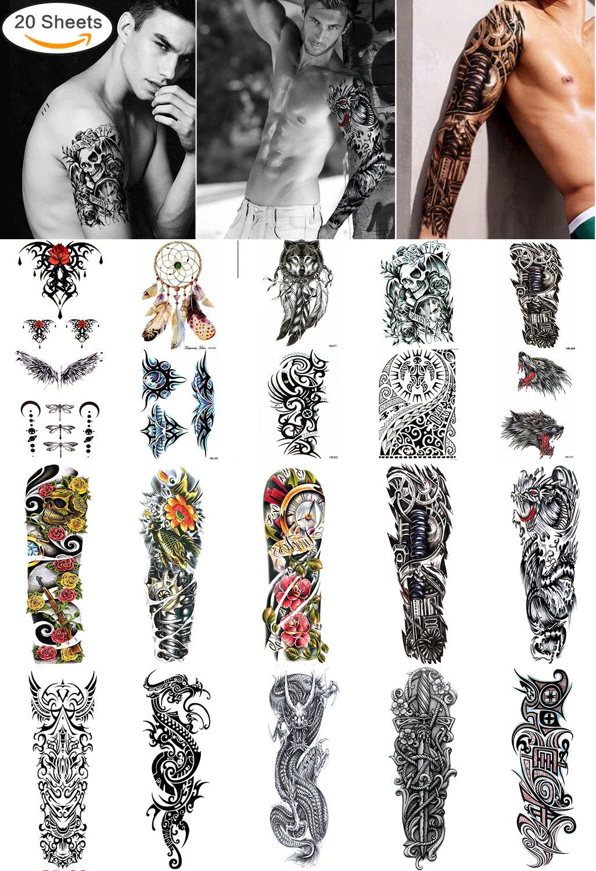 be729824fa63d Amazon.com : Large Temporary Men Women Tattoos - Wolf, Tribal, Koi Fish,  Skull, Cross, Dream Catcher, Dragon Tattoo Body Art Designs, Arm Shoulder  Neck ...