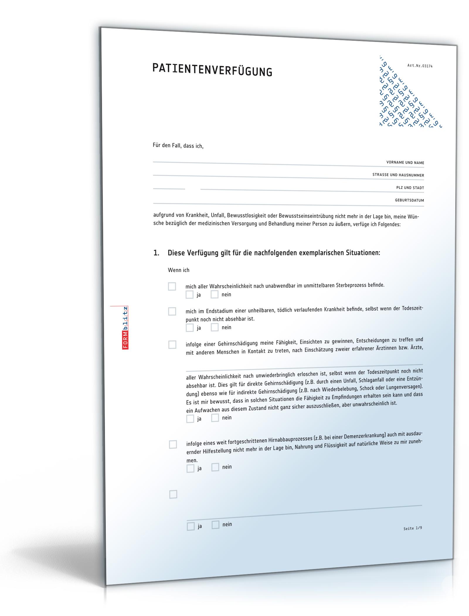 patientenverfgung pdf patientenwillen rechtsverbindlich festlegen download amazonde software - Verlngerung Elternzeit Muster