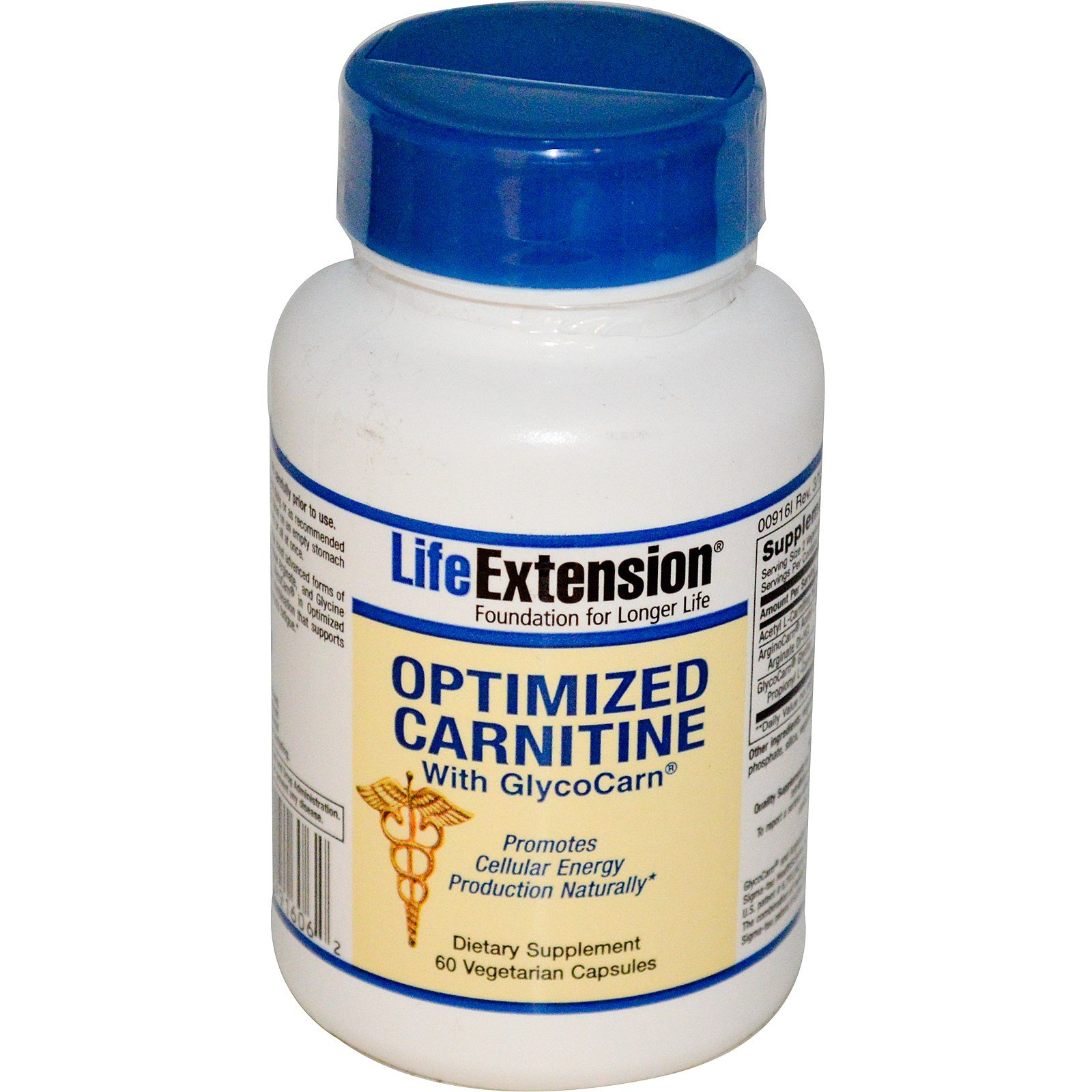 Life Extension, Optimized Carnitine, With GlycoCarn, 60 Veggie Caps - 2pc