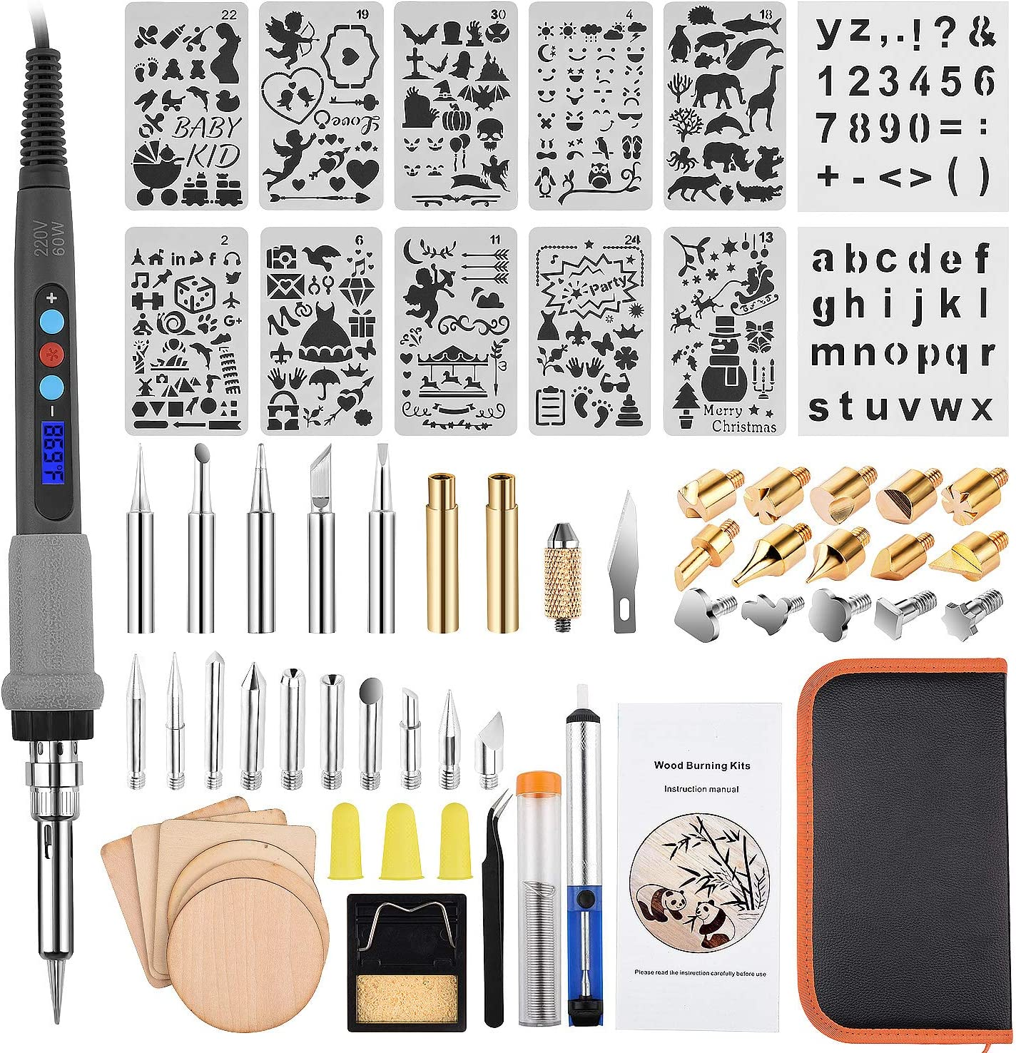 Amazon Com 62pcs Lcd Wood Burning Kit Tbjsm Upgraded Woodburning Tool Set With Lcd Display Professional Adjustable Temperature Pyrography Pen Wood Burner Diy Craft Tools For Embossing Carving Soldering Tips