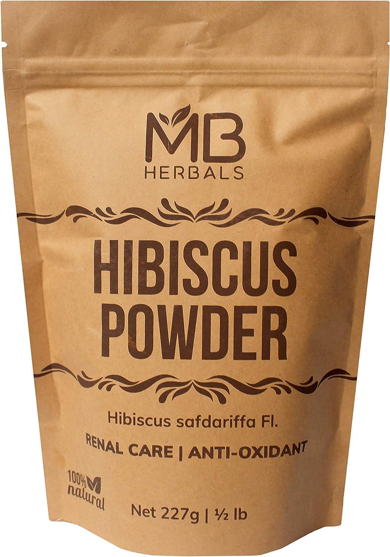 MB Herbals Hibiscus Powder | 227g | Half Pound | Hibiscus safdariffa Flower Powder | for Refreshing Tea & Hair Care