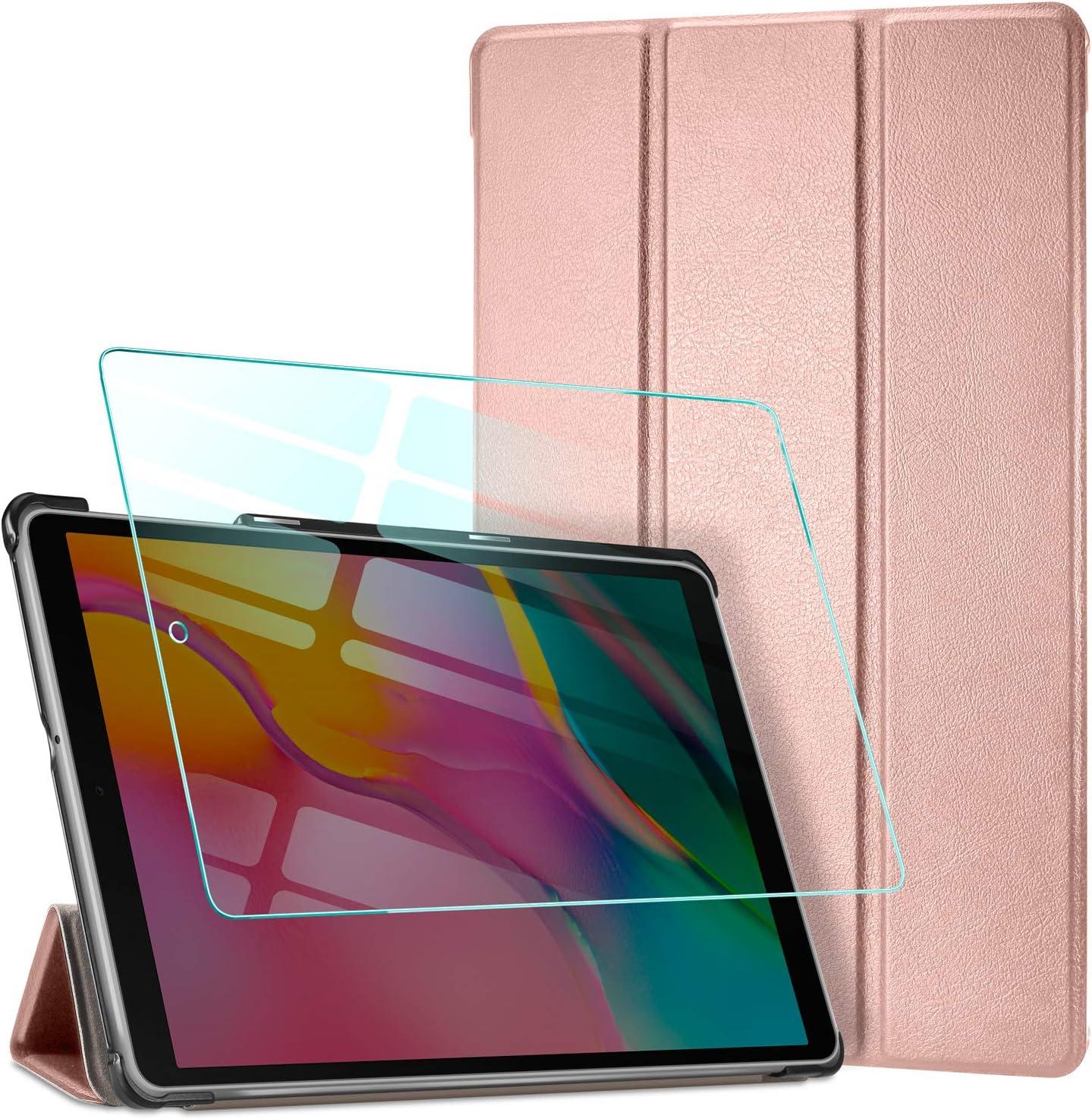 AROYI Funda + Protector Pantalla para Samsung Galaxy Tab A T510/T515 10.1 2019 Carcasa Silicona TPU Smart Cover Case con Soporte Función para Samsung Galaxy Tab A T510/T515 10.1 2019 - Oro Rosa