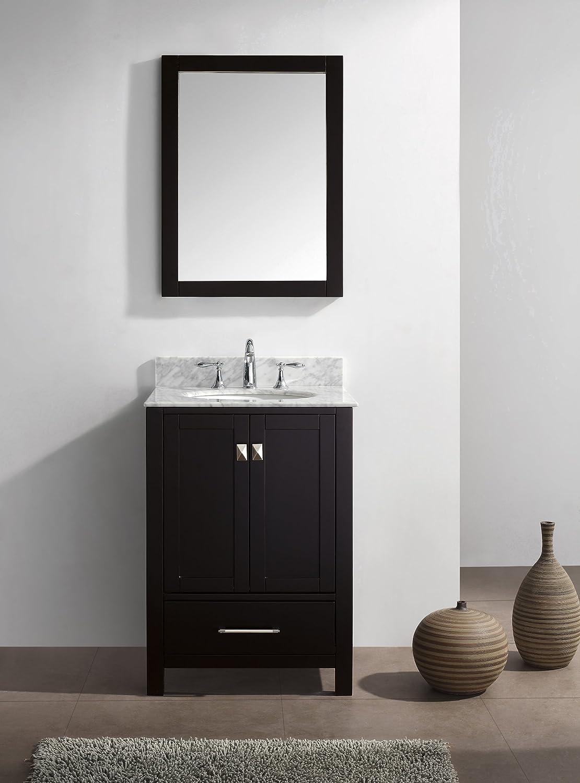 Virtu bathroom accessories - Virtu Usa Gs 50024 Wmsq Es Caroline Avenue 24 Inch Bathroom Vanity With Double Square Sinks In Espresso And Italian Carrara White Marble Bath Vanity