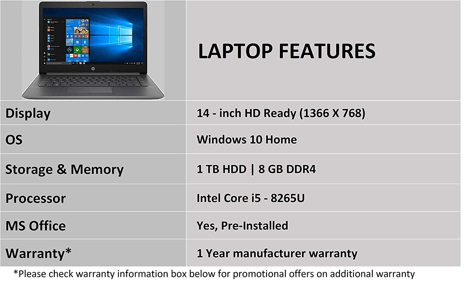 Intel Core I5 Processor 14 Inch Thin Hp 14 8th Gen Light Laptop 8gb 1tb Hdd Windows 10 Home Best Price With Best Deal In Your City
