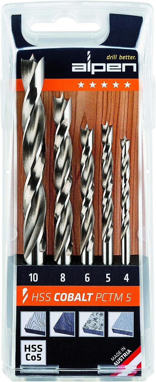 8-teilig ALPEN Holzspiralbohrer Kassette PCTM 8 HSS Cobalt Bohrer Durchmesser 3-8 mm 1 St/ück,63300008100