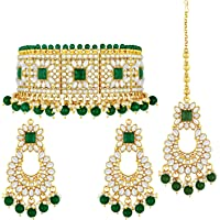 Aheli Bridal Kundan Faux Pearl Choker Necklace with Earrings Maang Tikka for Women Girls Indian Traditional Bollywood…