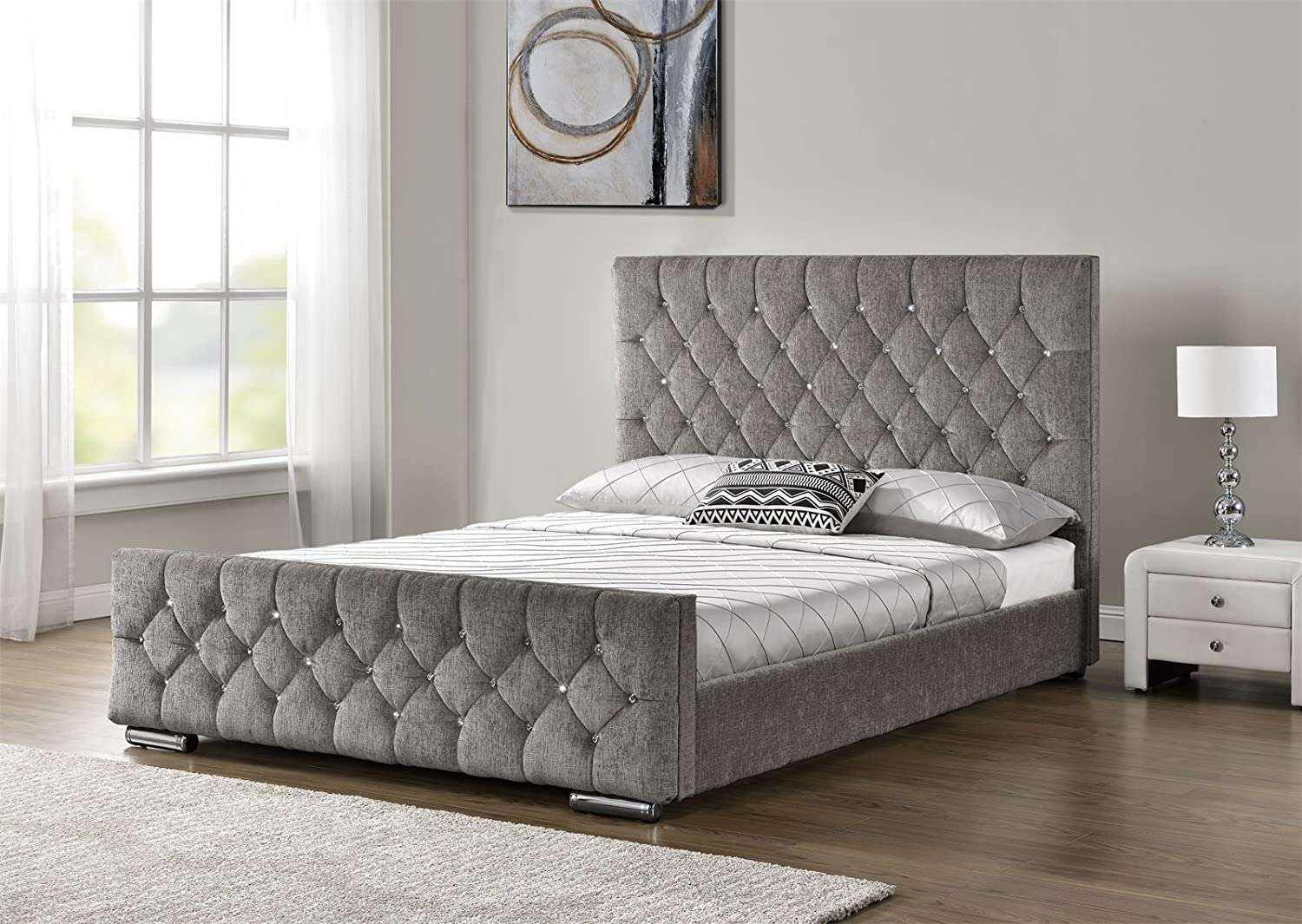 Diamond Upholstered Fabric Bed Frame Velvet Chenille Double Mink, Silver and Charcoal (Silver) Home Detail