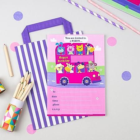 20 invitaciones para fiesta de cumpleaños infantil con un autobús de animales de color rosa