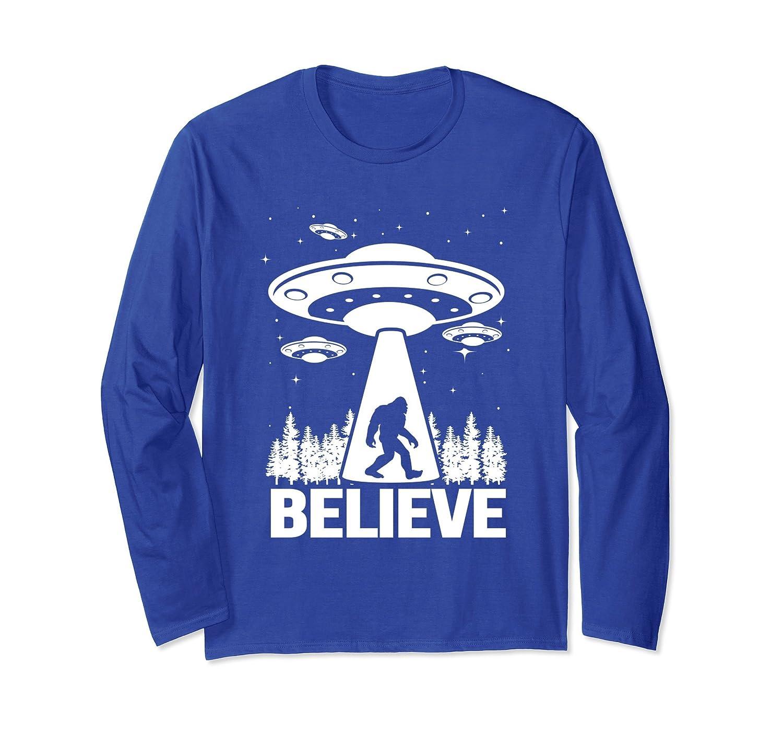 Alien Bigfoot UFO Abduction Long Sleeve Shirt Sasquatch Gift-mt