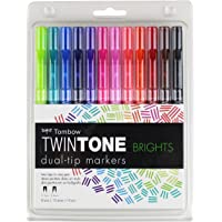 Tombow 61500 Twintone Marker Set, Bright, 12-Pack. Double-Sided Markers for Bold and Precise Writing