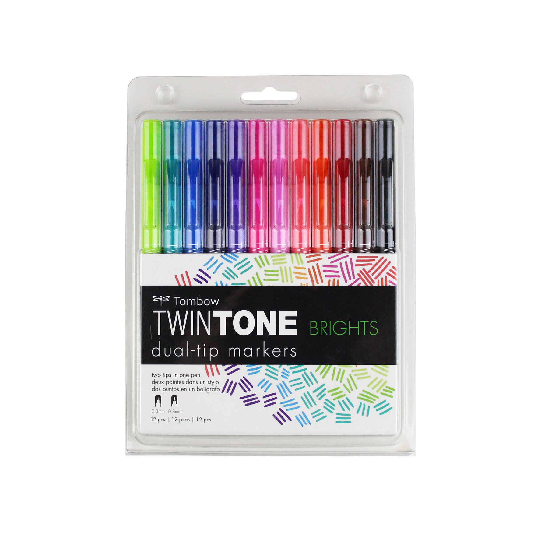 Tombow 61500 TwinTone Marker Set, Bright, 12-Pack. Double-Sided Markers Perfect for Planners, Journals, Doodling, and More!