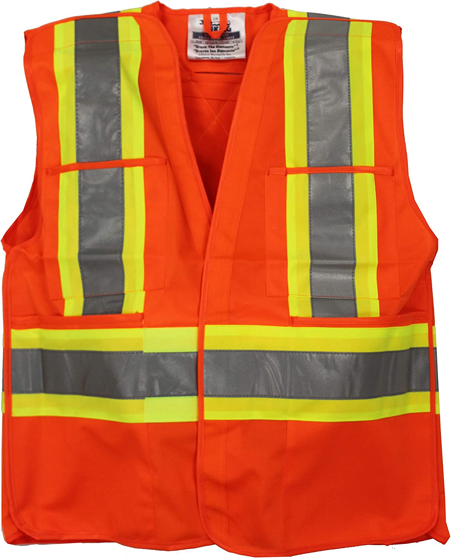 Viking 5-Point Tear Away Hi-Vis Safety Vest with 2 Vi-Brance Reflective Tape over 4 Contrasting Tape