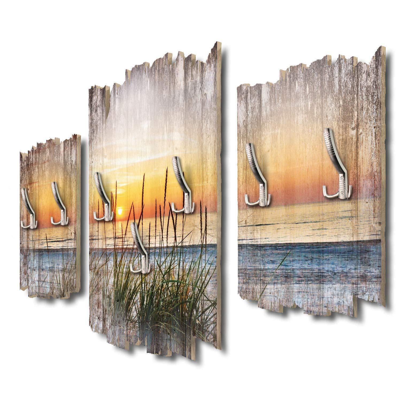 Kreative Feder Abendspaziergang am Strand Designer Wandgarderobe Flurgarderobe Wandpaneele 95 x 60 cm aus MDF DTGH121