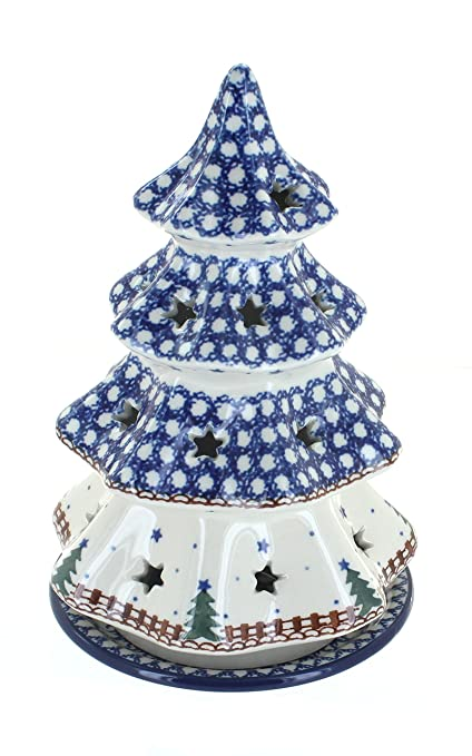 Blue Rose Polish Pottery Rustic Pines Large Christmas Tree Luminary - Amazon.com: Blue Rose Polish Pottery Rustic Pines Large Christmas