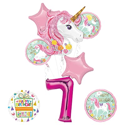 Mayflower Products Unicorn Party Supplies Believe in Unicorns 7th Birthday Balloon Bouquet Decorations: Toys & Games