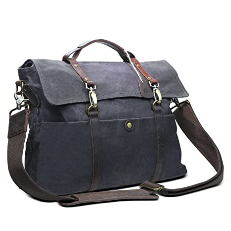 c6cb3bd22c43 Image Unavailable. Image not available for. Color  Messenger Bag for Men  Waterproof 15.6 inch Vintage Waxed Canvas Genuine Briefcase Laptop Satchel  ...