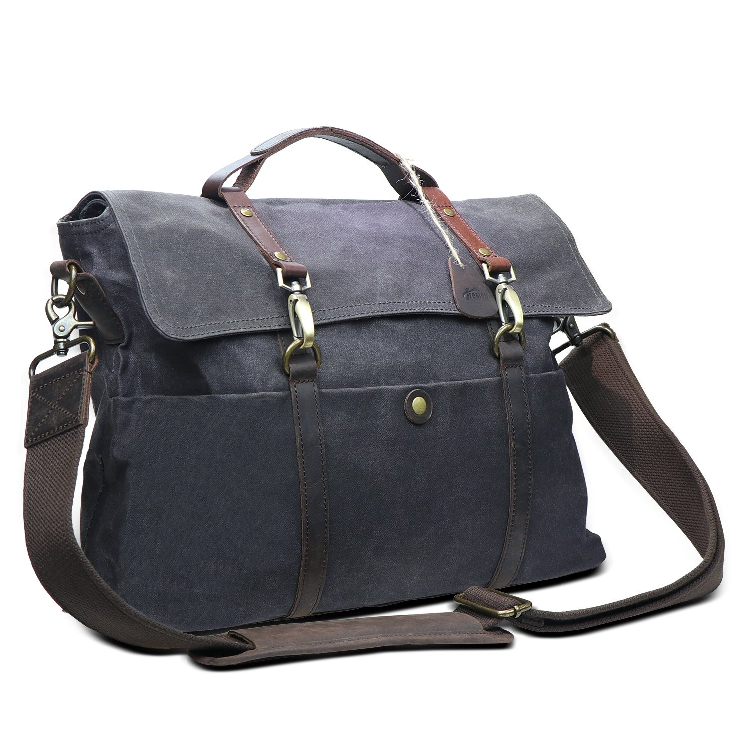 Fresion Mens Messenger Bag Waterproof 15.6 Inch Canvas Genuine Leather Computer Bag