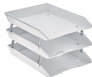 Acrimet Facility 3 Tier Letter Tray Front Load Plastic Desktop File Organizer (White Color)