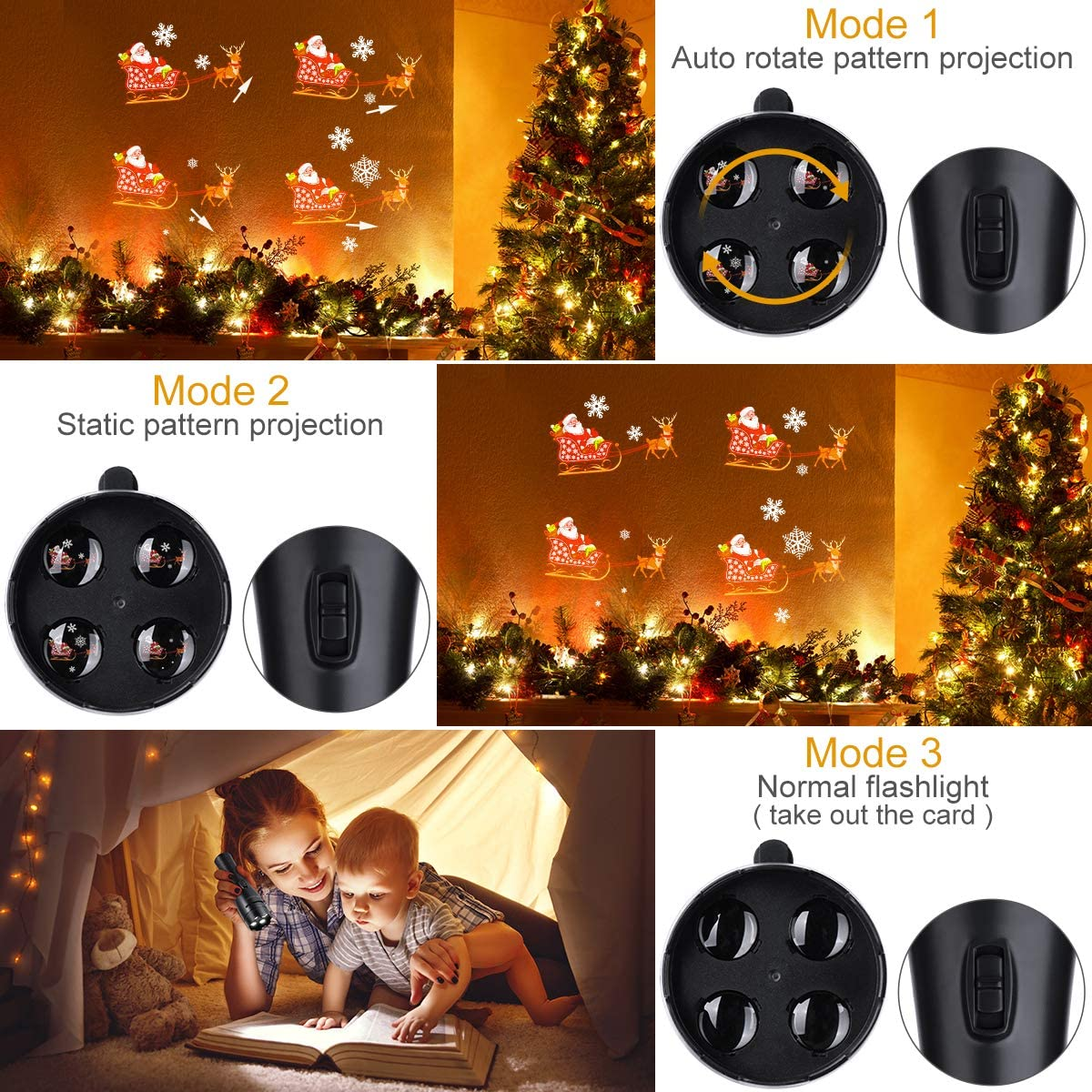 2 Mode LED Stage Light Flashlight 2 Pattern Card Christmas Halloween Projector