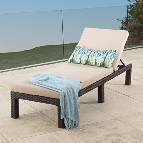 Venice Patio Furniture Outdoor Wicker Chaise Lounge Chair Brown and Beige Single