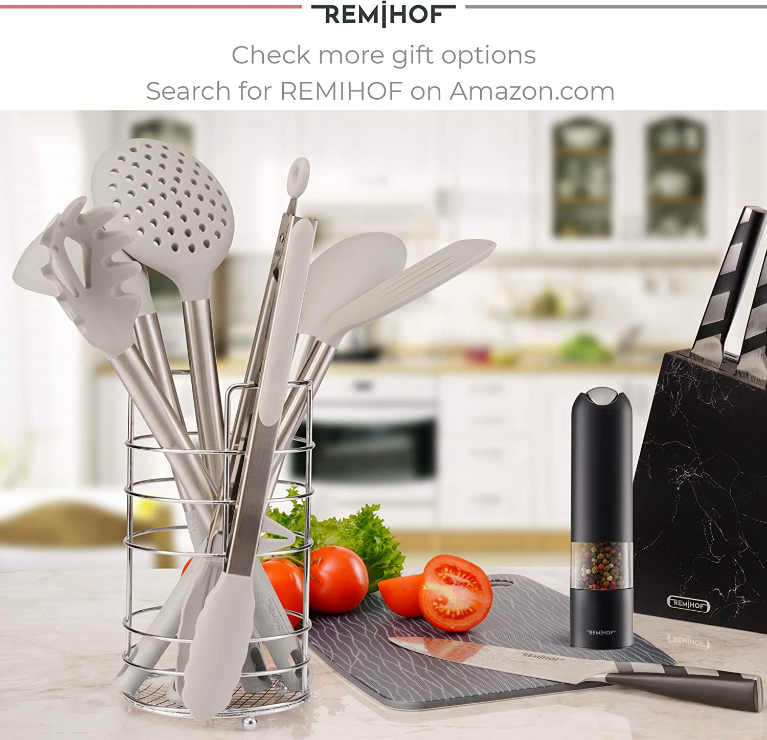 Best Culinary Gift Set Spatula Turner Ladle Pasta Server 6pcs, DarkGrey REMIHOF Silicone Kitchen Utensil Set Nonstick Silicone and Stainless Steel Cooking Utensils