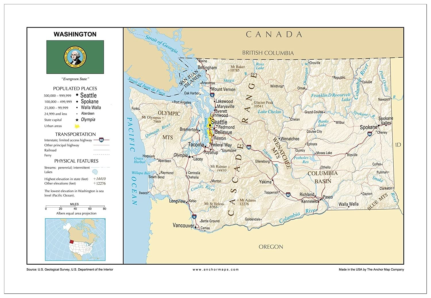 Amazon Com 13x19 Washington General Reference Wall Map Anchor