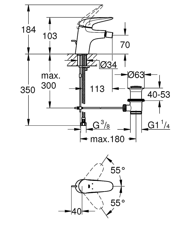 GROHE Einhand-Bidetbatterie 1 St/ück 23720LS3 Zugstangen-Ablaufgarnitur DN 15